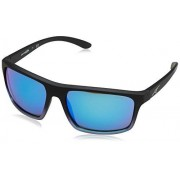 ARNETTE An4229 Sandbank anteojos de sol rectangulares para hombre, Black Grad Shot azul/verde espejo azul claro, 61 mm
