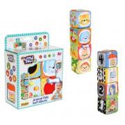 Set 4 cuburi stivuibile Winfun, din material textil multicolore pentru bebelusi