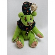 World of Miniature Bears 2.5 Plush Bear Checkers-Green #1036 Collectible Miniature Bear Made by Hand