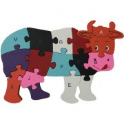 Shy Shy Wooden Jigsaw Puzzle In Shape Of Cow Each Piece Painted With Alphabets On One Side 1-26 Numbers On Other
