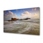 Tablou Canvas Premium Peisaj Multicolor Pe plaja in zori de zi Decoratiuni Moderne pentru Casa 80 x 160 cm