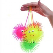 K.V Traders New Smile Face Puffer Ball with Flashing Light Throw Squeeze Spiky Massage Funny Toy Children Kids Toy Gifts Light up Toys (Set of 12)