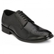 Hirel's Black Derby Cap Toe Synthetic Leather Formal Shoes