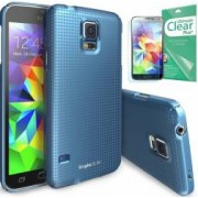 Skin Ringke Eco Slim Dot Samsung Galaxy S5 G900 Electric Blue + Folie