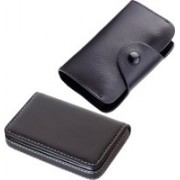 Stealodeal New Leatherite High Quality Wallet With Black Leather 15 Card Holder(Set of 2, Black)