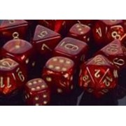 Chessex Manufacturing Scarlet w/gold Scarab Polyhedral Chessex 7-Die Set CHX 27414 by