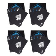 Care CASE- Set of 4- Unique Black Good Quality Waterproof Colorful Playing Cards Plastic Deck Poker Playing Card