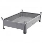 Heson Stapelbehälter aus Stahlblech, niedrige Bauform, Wände geschlossen BxL 1000 x 1200 mm, Traglast 2000 kg grau, ab 10 Stk