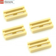 Lego Parts: Tile, Modified 1 x 2 Grille with Bottom Groove (PACK of 4 - Tan)
