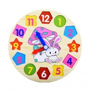 TOYMYTOY Wooden Shape Sorting Clock Wooden Clock with Numbers and Shapes Sorting Blocks