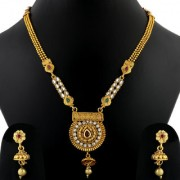 Silver Shine Exclusive Gold Plated Traditional Three Line Chain Round Shape Stone Studded Kundan Long Necklace Set Jewellery For Women And Girls