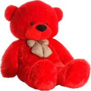 Multi Soft Fabric India Kid's 4 Feet Jumbo Teddy Bear Stuffed Soft Push Toy Good Quality Fabrics (Red)