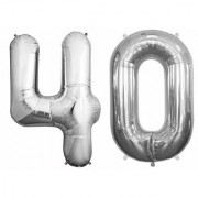 Stylewell Solid Silver Color 2 Digit Number (40) 3d Foil Balloon for Birthday Celebration Anniversary Parties