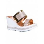 Дамски чехли на платформа в меден цвят