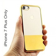 KC Premium Half Electroplated Soft Transparent Silicone TPU Case Back Cover for iPhone 7 Plus (Gold)
