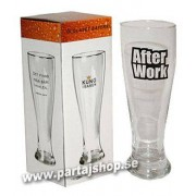 Ölglas med text After Work
