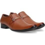 Axonza AXONZA Men's Synthetic Leather Office wear 279 Tan Slip on Formal Shoes Slip On For Men(Tan)