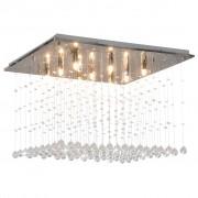 vidaXL ezüstszínű, kocka alakú mennyezeti lámpa kristálygyöngyökkel G9