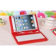 Husa Tableta 9 Inch Cu Tastatura Micro Usb Model X , Rosu , Tip Mapa