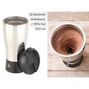 Rosenstein & Söhne Selbstrührender Thermobecher mit elektrischem Quirl, 450 ml, BPA-frei