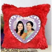 DEAR MOM Personalized Happy Mothers Day Plush Decorative Red Fur Cushion