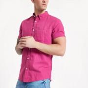 River Island Mens Pink linen short sleeve shirt (Size XL)