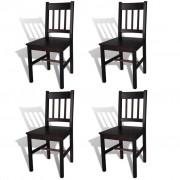 vidaXL Трапезни столове, 4 бр, дърво, кафяви
