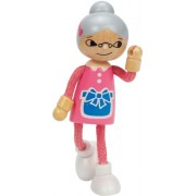 Hape Happy Family Poseable Wooden Grandmother Play Doll