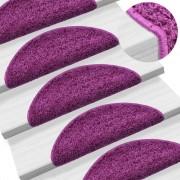 vidaXL Tapetes de escada 15 pcs 56x20 cm violeta