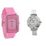 Glory STAR Combo Of Two Watches-Baby Pink Rectangular Dial Kawa And White Circular Glory Watch