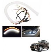 Auto Addict 2PCS 60cm (24 ) Car Headlight LED Tube Strip Flexible DRL Daytime Running Silica Gel Strip Light DC 12V Soft Tube Lamp Fancy Light (Yellow White) For Mahindra Bolero