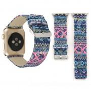 Voor Apple Watch serie 3 & 2 & 1 38mm etnische stijl Retro Canvas + lederen pols horloge Band(Blue)