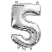 Stylewell Solid Silver Color Single Number Five (5) 3d Foil Balloon for Birthday Celebration Anniversary Parties