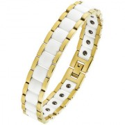 The Jewelbox White Ceramic 18K Gold Plated 316L Surgical Stainless Steel Bracelet For Boys Men