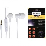 BrainBell COMBO OF UBON Earphone UH-281 TUFF SERIES NOICE ISOLATING CLEAR SOUND UNIVERSAL And MICROMAX CANVAS KNIGHT A350 Tempered Scratch Guard