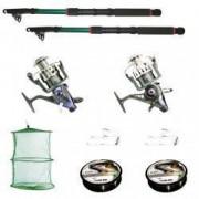Set de pescuit sportiv cu 2 lansete 3.6m doua mulinete baitrunner Cool Angel 11 rulmenti si tambur de rezerva