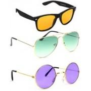 Elligator Wayfarer, Aviator, Round Sunglasses(Yellow, Green, Violet)
