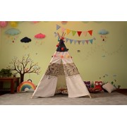 Small Boy Children Teepee Play Tent with Windows and Play Mat-White airplanePattern(Tent + mat)