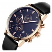 Onloon Auténtica KINYUED Aumentó Concha De Oro De Cuero Pequeña Luminoso Reloj De Cuarzo Multifuncional De Tres Polos De Los Hombres (azul)