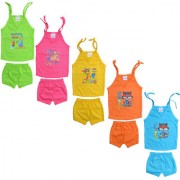 Eazy Trendz Born Baby Unisex Gorgeouse Cartoon Printed Knotable Baby Top and Bottom Dress Set (Pack of 5)(0-12 Months)