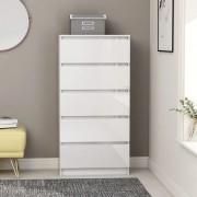 vidaXL Скрин с чекмеджета, бял гланц, 60x35x121 см, ПДЧ