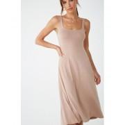Forever21 Slub Knit Midi Tank Dress TAUPE