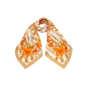 【71%OFF】MANIPURI シルク フラワープリント スカーフ オレンジミックス 88x88 ファッション > ファッション小物~~スカーフ