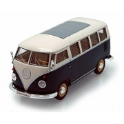 1962 Volkswagen Classical Bus, Green - Welly 22095 - 1/24 scale Diecast Model Toy Car