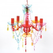 vidaXL Многоцветен кристален полилей за обикновени и LED крушки