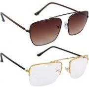 NuVew Wayfarer Sunglasses(Brown, Clear)