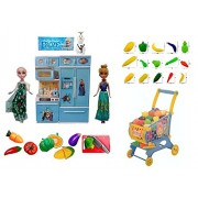 Frozen Modern Kitchen Set - With Frozen Dolls Elsa & Anna + Fruit Shopping Cart + Slice-able Vegetables Cutting Kit + Luxurious Kitchen