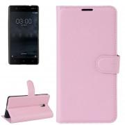 Para Nokia 3 Litchi Texture Horizontal Flip Funda De Cuero Con Soporte Y Ranuras Para Tarjetas Y Cartera (rosa)