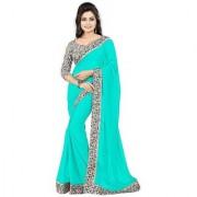 Bhuwal Fashion Turquoise Chiffon Printed Saree With Blouse