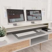 vidaXL Stojan na monitor biely farby dubu sonoma 100x24x13 cm drevotrieska